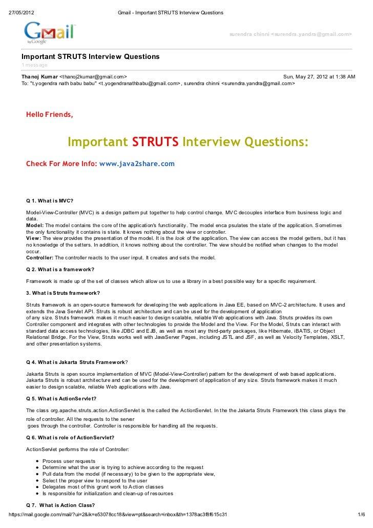 important struts interview questions