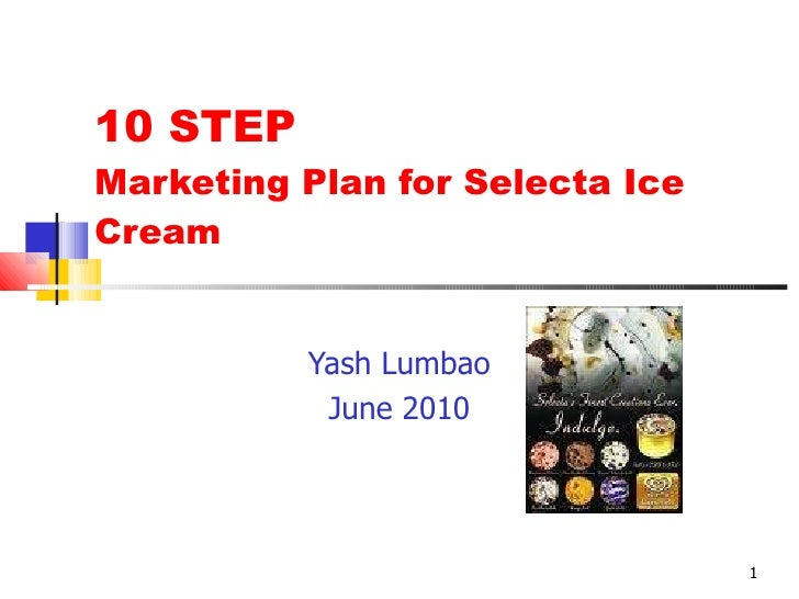 10 STEP Marketing Plan for Selecta Ice Cream Yash Lumbao June 2010