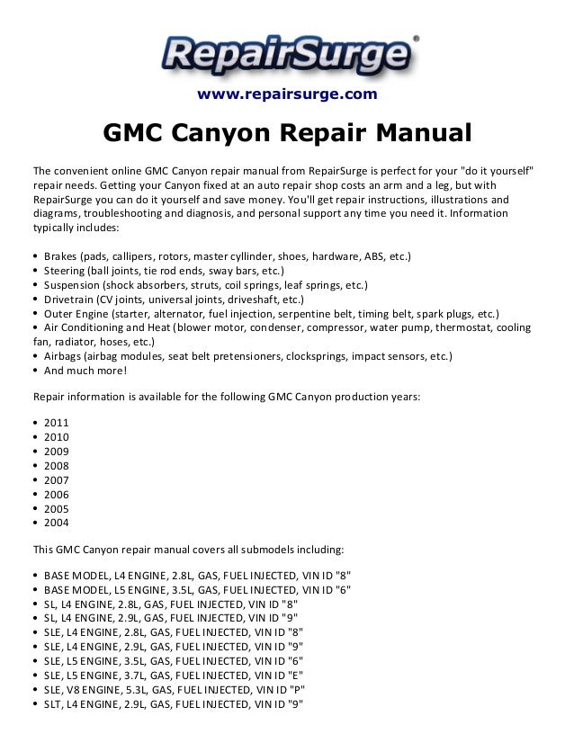 Canyon Repair Manual The convenient online GMC Canyon repair manual ...