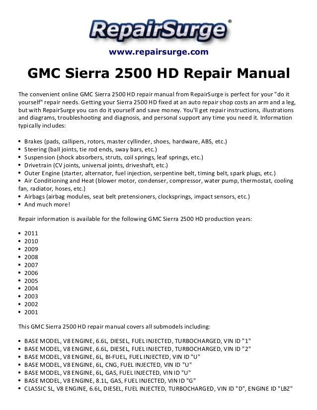 gmc sierra 2500 hd repair manual 2001 2011 2005 GMC Sierra owners manual 2001 gmc sierra