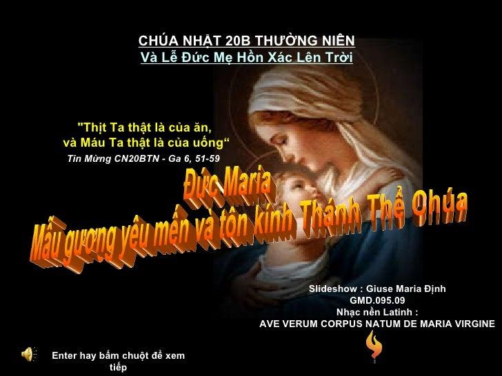 Enter hay bấm chuột để xem tiếp CHÚA NHẬT 20B THƯỜNG NIÊN Và Lễ Đức Mẹ Hồn Xác Lên Trời Đức Maria Mẫu gương yêu mến và tôn...