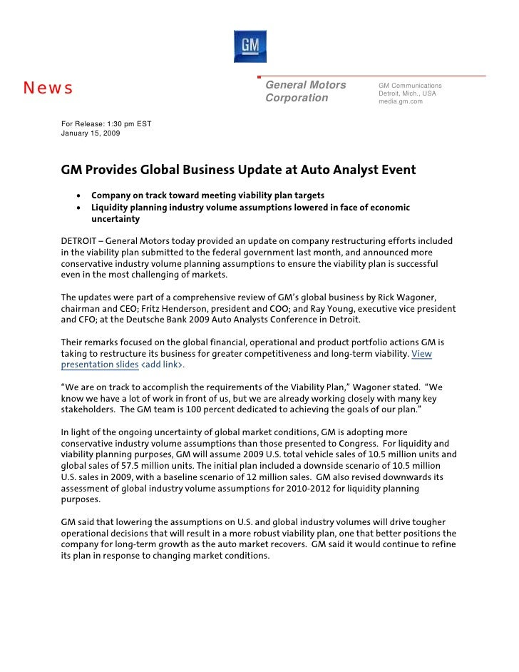 Gm Events & Presentations General Motors At The Automotive Securities Analysts Event Hosted By Deutsche Bank