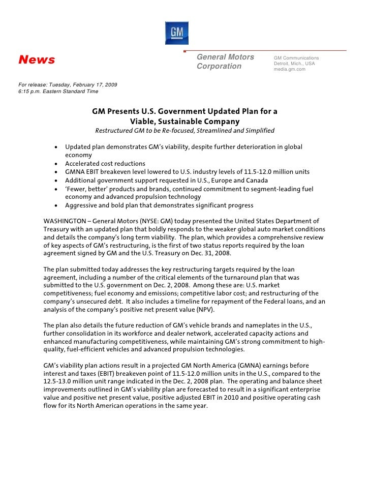 GM_Events & Presentations_GM Media Briefing – GM Business Plan Submitted to the U.S. Congress