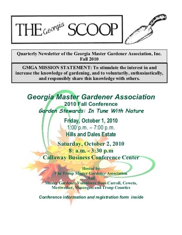 Quarterly Newsletter of the Georgia Master Gardener Association, Inc.                              Fall 2010   GMGA MISSIO...