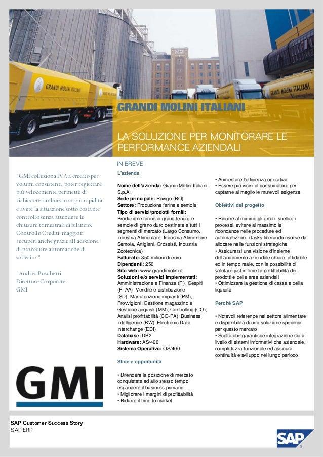 """IN BREVE GRANDI MOLINI ITALIANI LA SOLUZIONEPERMONITORARE LE PERFORMANCEAZIENDALI """"GMI colleziona IVA a credito per vol..."""