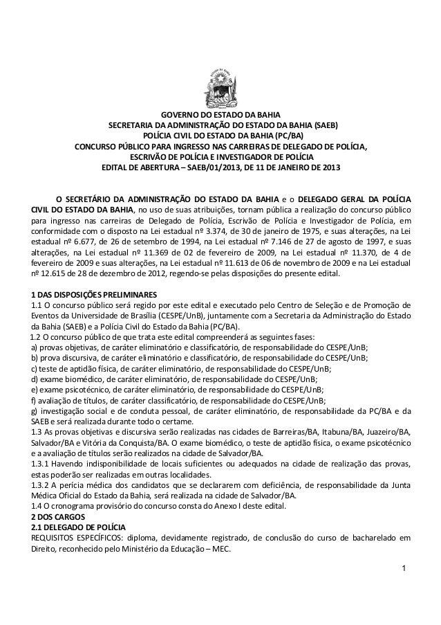 GOVERNO DO ESTADO DA BAHIA                   SECRETARIA DA ADMINISTRAÇÃO DO ESTADO DA BAHIA (SAEB)                        ...