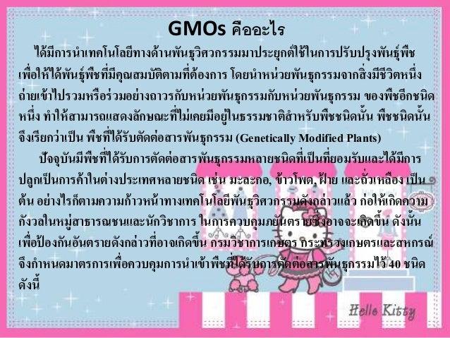 GMOs คืออะไร ได้มีการนาเทคโนโลยีทางด้านพันธุวิศวกรรมมาประยุกต์ใช้ในการปรับปรุงพันธุ์พืช เพื่อให้ได้พันธุ์พืชที่มีคุณสมบัติ...