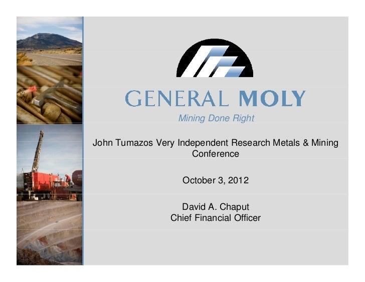 General Moly at John Tumazos Metals & Mining Conference
