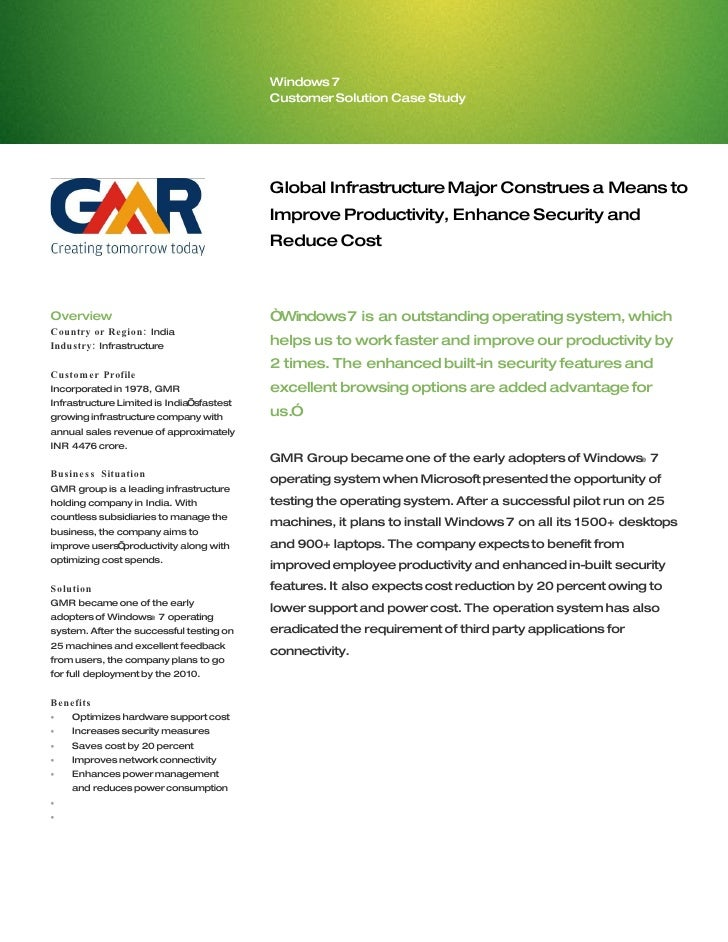 Microsoft India - GMR Infrastructure Case Study