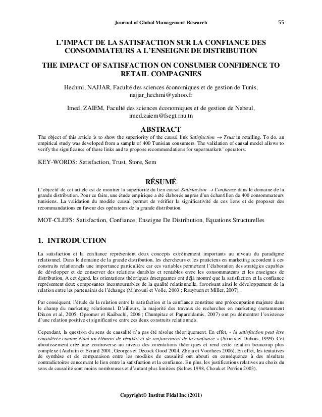 Journal of Global Management Research 55 Copyright© Institut Fidal Inc (2011) L'IMPACT DE LA SATISFACTION SUR LA CONFIANCE...