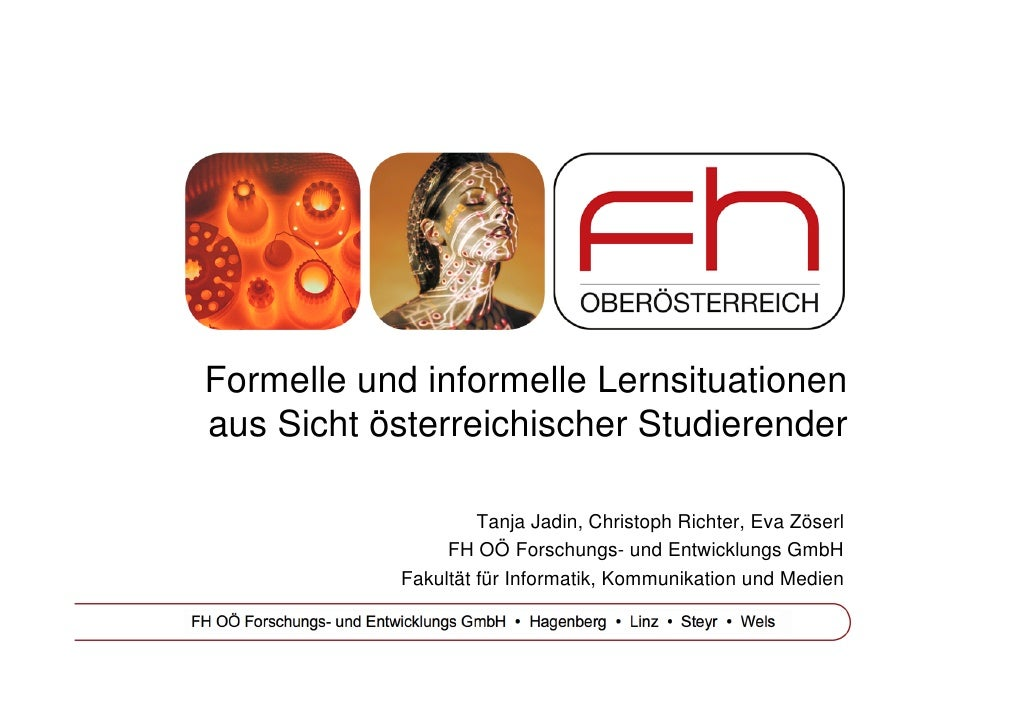 Formelle und informelle Lernsituationen aus Sicht österreichischer Studierender                      Tanja Jadin, Christop...