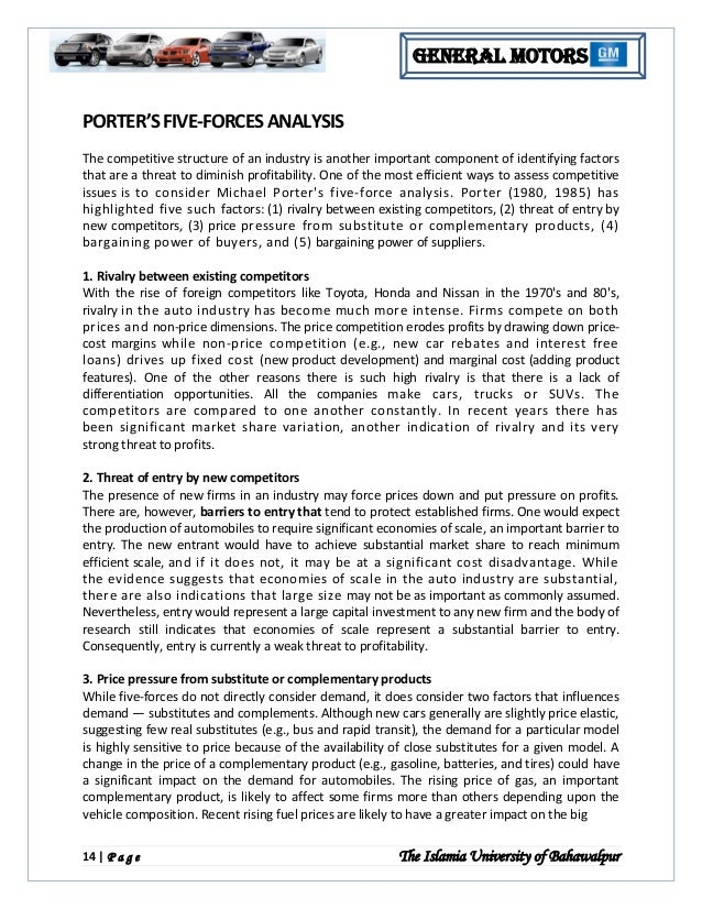porters five forces analysis of ford motor company essay Get access to michael porter 5 five force model essays only porters five forces model this section forces generally requires a company to re-assess.