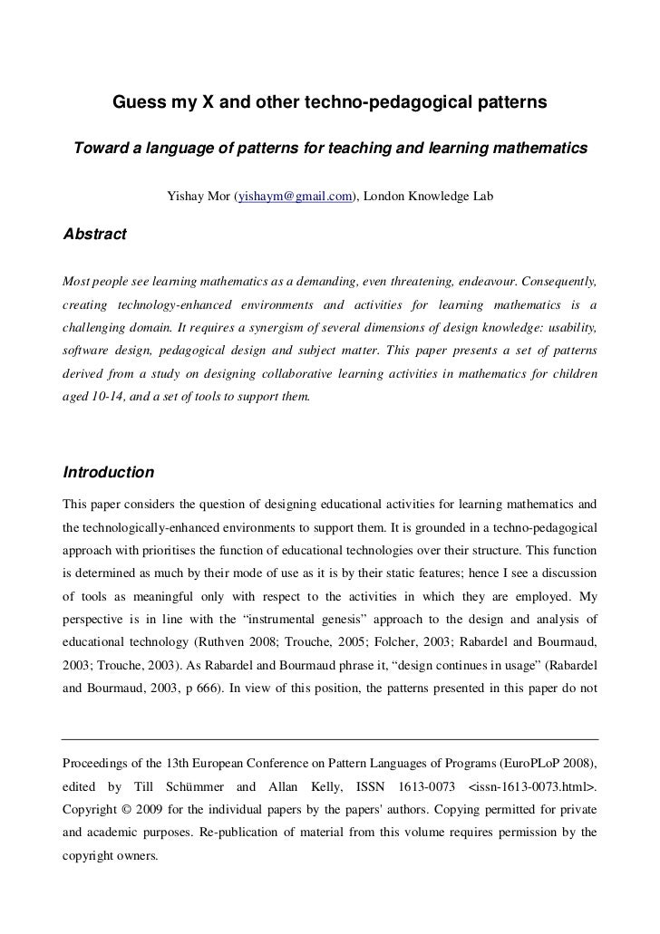 Guess my X and other techno-pedagogical patterns Toward a language of patterns for teaching and learning mathematics      ...