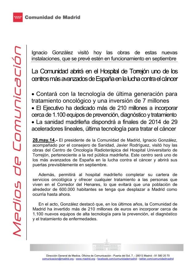 Ignacio gonzález visitó las obras de estas nuevas instalaciones, que se prevé estén en funcionamiento en septiembre