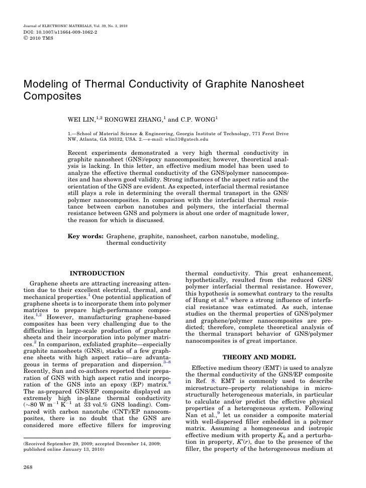 Journal of ELECTRONIC MATERIALS, Vol. 39, No. 3, 2010 DOI: 10.1007/s11664-009-1062-2 Ó 2010 TMS     Modeling of Thermal Co...