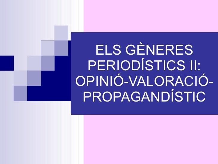 Gèneres periodístics ii