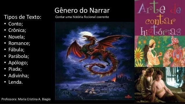 Gênero do Narrar Contar uma história ficcional coerenteTipos de Texto: • Conto; • Crônica; • Novela; • Romance; • Fábula; ...