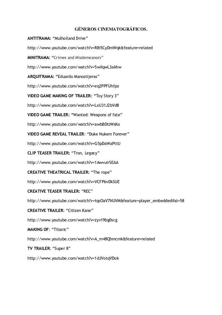 "GÉNEROS CINEMATOGRÁFICOS.ANTITRAMA: ""Mulholland Drive""http://www.youtube.com/watch?v=R8i5CyDmWqk&feature=relatedMINITRAMA:..."