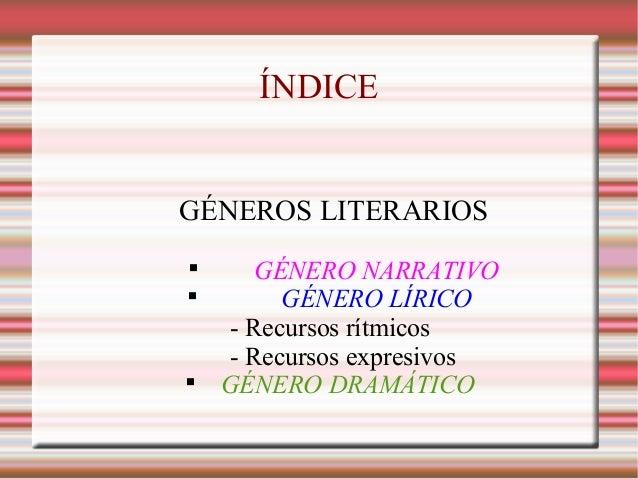 ÍNDICE GÉNEROS LITERARIOS  GÉNERO NARRATIVO  GÉNERO LÍRICO - Recursos rítmicos - Recursos expresivos  GÉNERO DRAMÁTICO