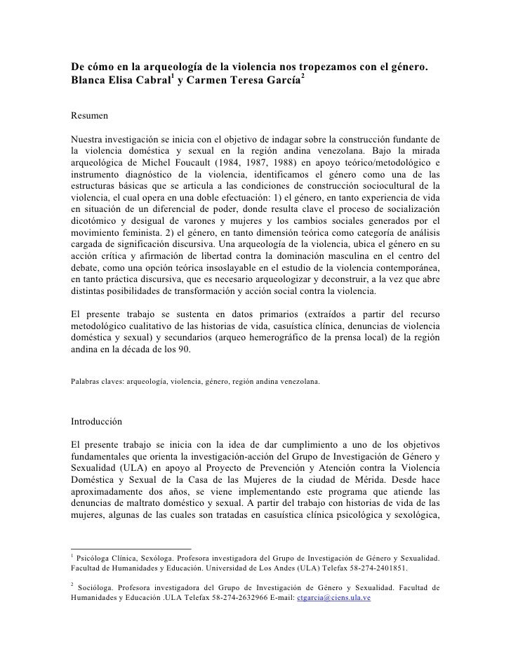 De cómo en la arqueología de la violencia nos tropezamos con el género. Blanca Elisa Cabral1 y Carmen Teresa García2   Res...