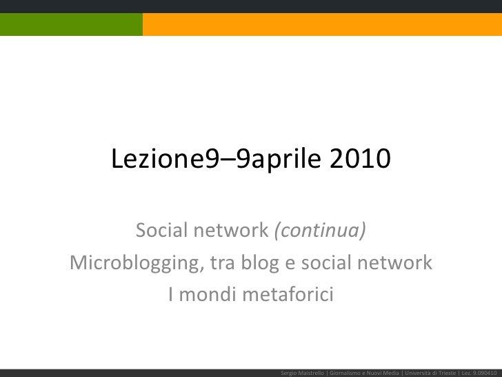Lezione 9–9 aprile 2010<br />Social network (continua)<br />Microblogging, tra blog e social network<br />I mondi metafori...