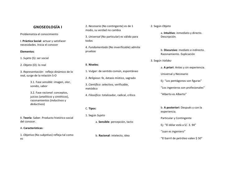GNOSEOLOGÍA I                       2. Necesario (No contingente) es de 1          2. Según Objeto                        ...