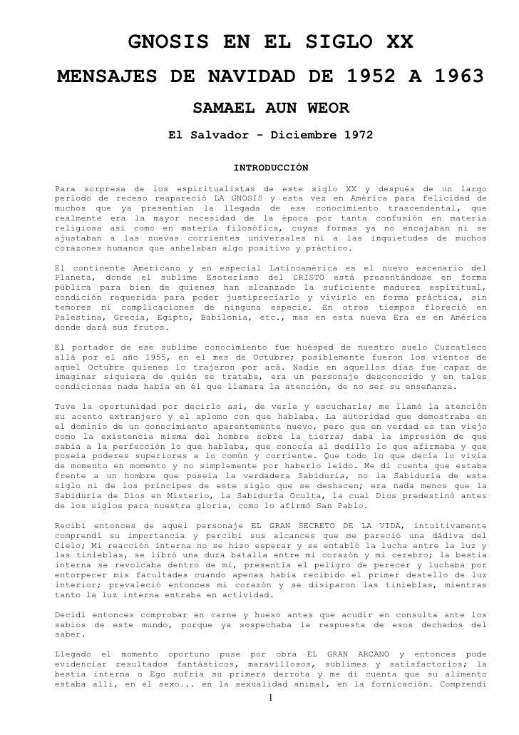 GNOSIS EN EL SIGLO XX MENSAJES DE NAVIDAD DE 1952 A 1963                           SAMAEL AUN WEOR                      El...