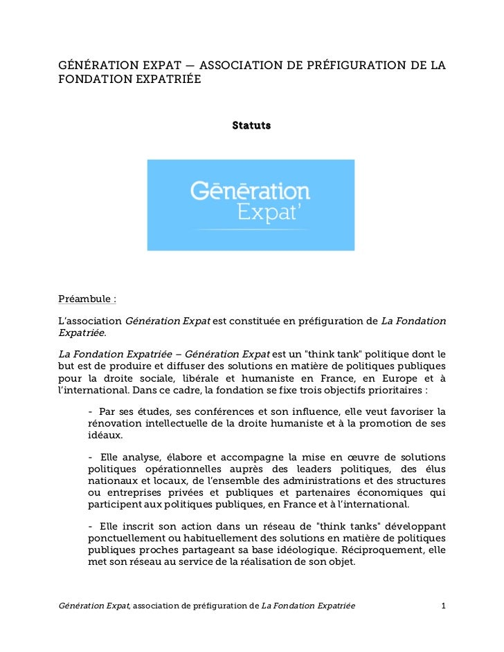 GÉNÉRATION EXPAT — ASSOCIATION DE PRÉFIGURATION DE LAFONDATION EXPATRIÉE                                          StatutsP...