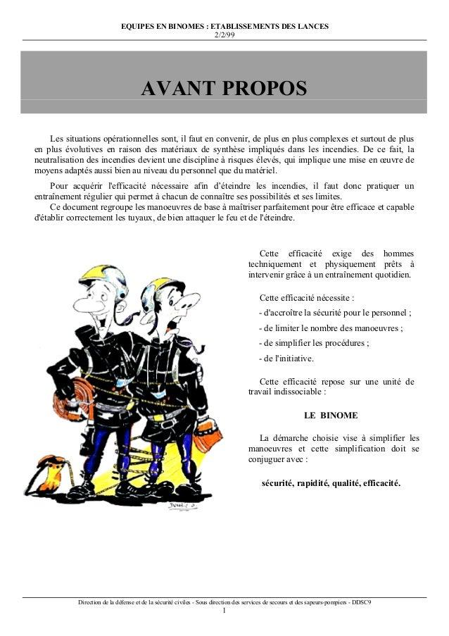 EQUIPES EN BINOMES : ETABLISSEMENTS DES LANCES 2/2/99 Direction de la défense et de la sécurité civiles - Sous direction d...