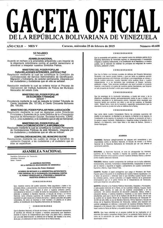 ANO CXLII - MES v  SUMARIO  ASAMBLEA NACIONAL Acuerdo en rechazo a Ia arremetida antipatriota y pro imperial de la oligarq...