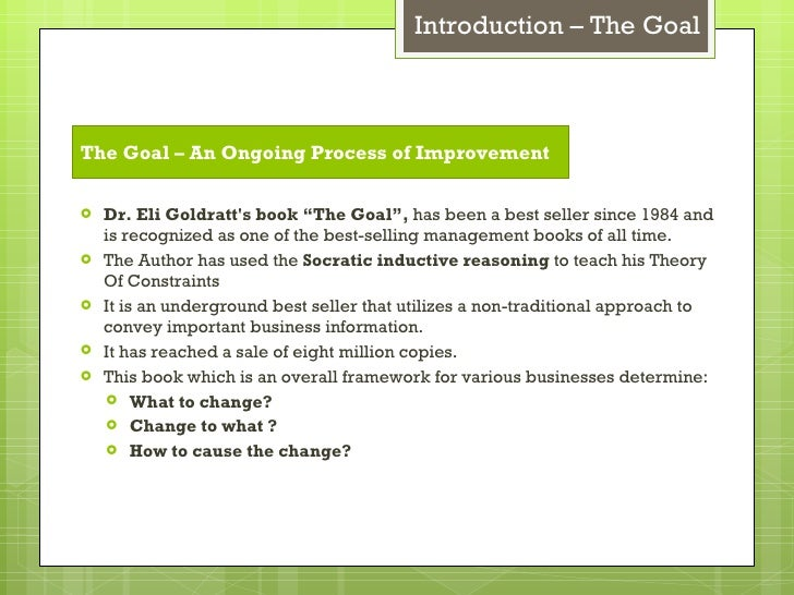 summary of the goal eliyahu m goldratt Read this essay on summary of lessons learned from the goal by eliyahu m goldratt come browse our large digital warehouse of free sample essays get the knowledge you need in order to pass your classes and more.