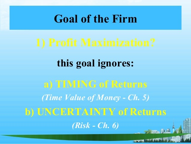 Goal of the firm ppt @ mba