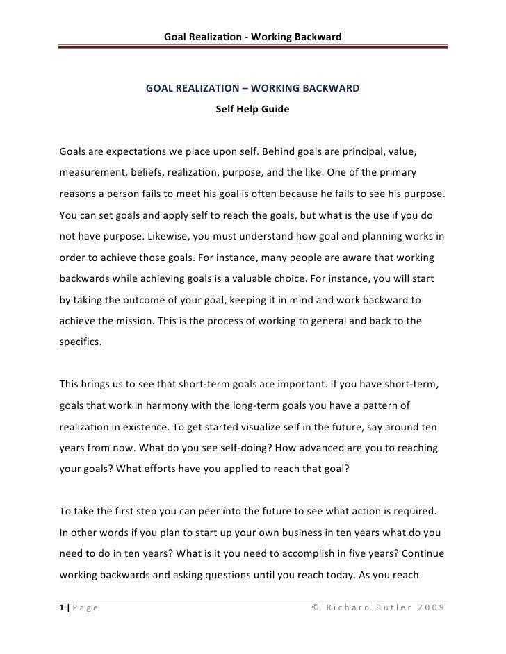 Goal Realization - Working Backward
