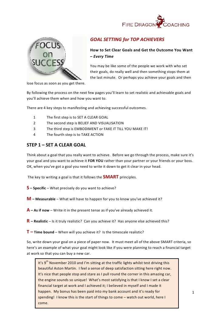 Goal Setting For Top Achievers