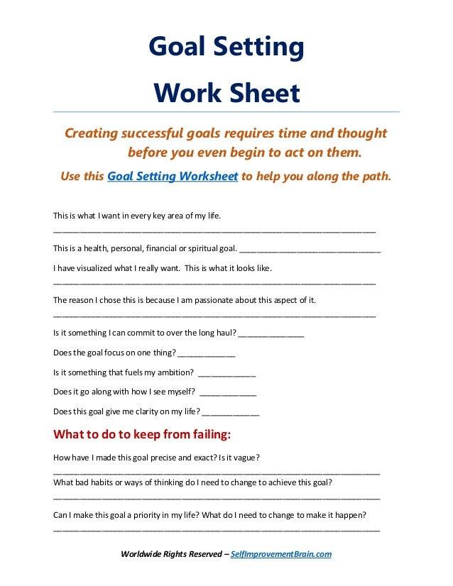 Life goals worksheet pdf