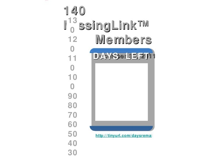 140  MissingLink™  Members  December 31, 2011  130 120 110 100 90 80 70 60 50 40 30 http://tinyurl.com/daysremaining DAYS ...