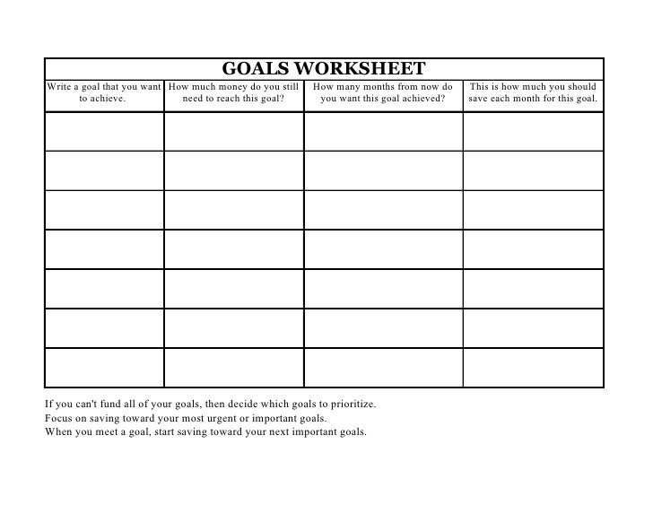 GOALS WORKSHEET Write a goal that you want How much money do you still      How many months from now do     This is how mu...