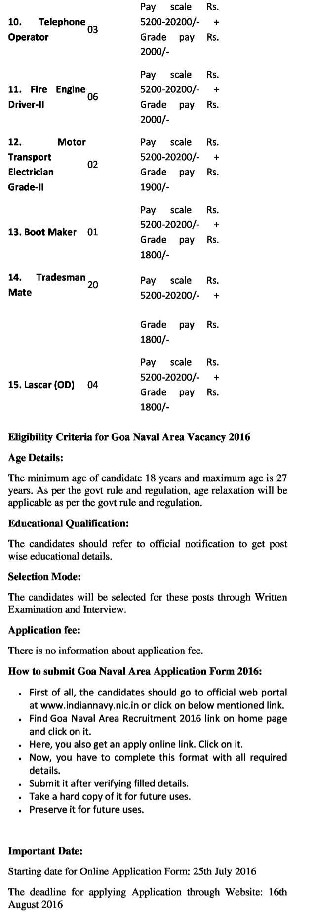 Goa naval area govt job recruitment 2016 latest  group 'c'  non gazetted vacancies exam resultd 6
