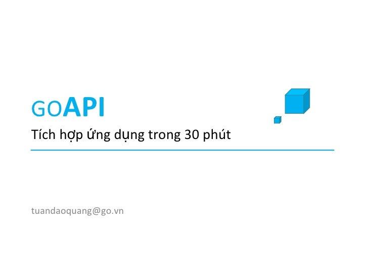 Go api the open platform