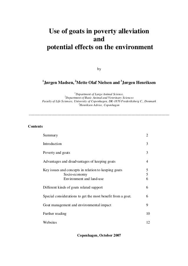 Use of goats in poverty alleviation                              and             potential effects on the environment     ...