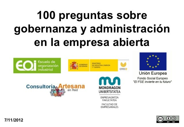 100 preguntas sobre    gobernanza y administración       en la empresa abierta7/11/2012