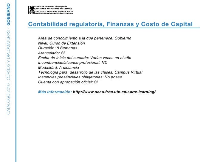 Gobierno - Contabilidad regulatoria finanzas y costo de capital