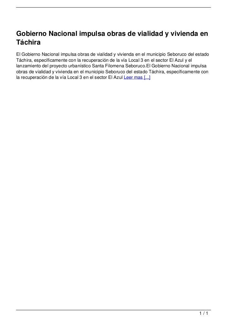 Gobierno Nacional impulsa obras de vialidad y vivienda en Táchira