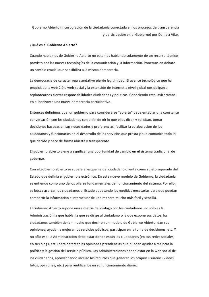 Gobierno Abierto (incorporación de la ciudadanía conectada en los procesos de transparencia                               ...