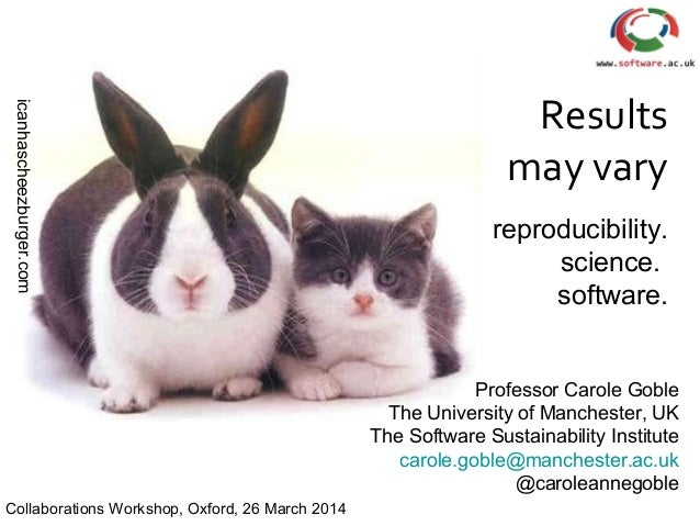 icanhascheezburger.com Results may vary reproducibility. science. software. Professor Carole Goble The University of Manch...