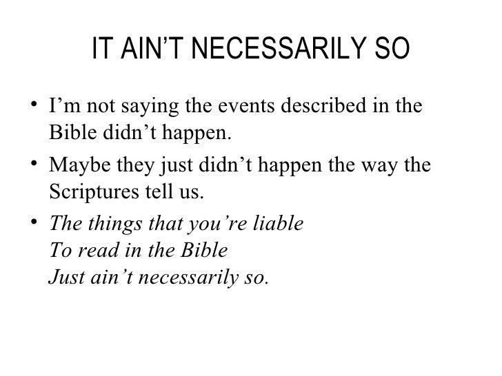 it ain t necessarily so pdf