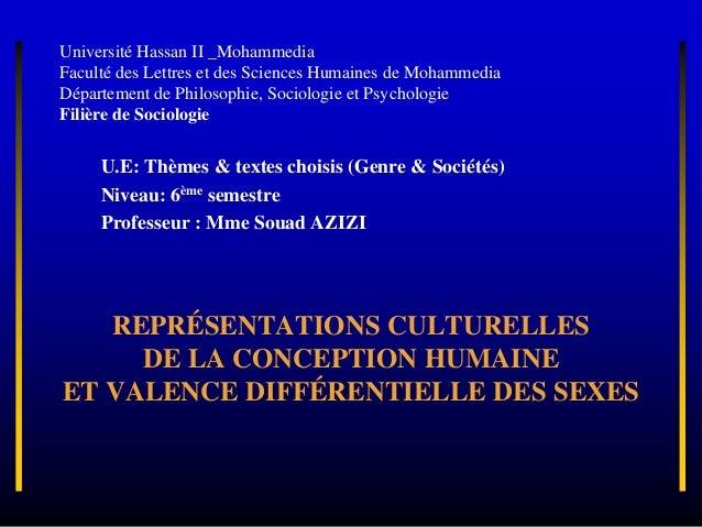 REPRÉSENTATIONS CULTURELLES DE LA CONCEPTION HUMAINE ET VALENCE DIFFÉRENTIELLE DES SEXES Université Hassan II _Mohammedia ...
