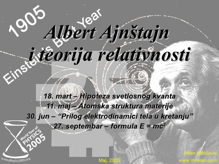 Albert Ajnštajn   i teorija relativnosti 18. mart – Hipoteza svetlosnog kvanta 11. maj – Atomska struktura materije 30. ju...