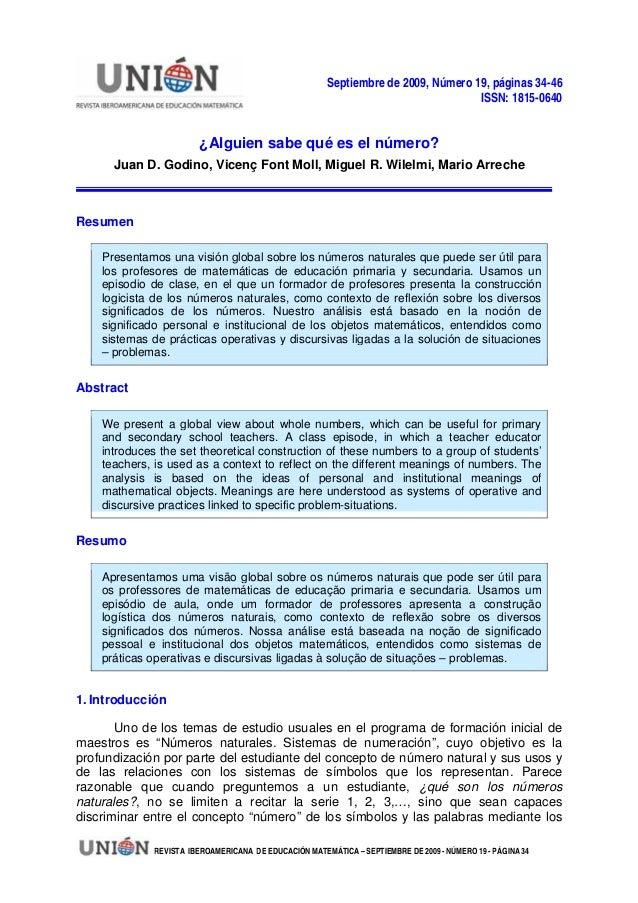 Septiembre de 2009, Número 19, páginas 34-46 ISSN: 1815-0640 ¿Alguien sabe qué es el número? Juan D. Godino, Vicenç Font M...