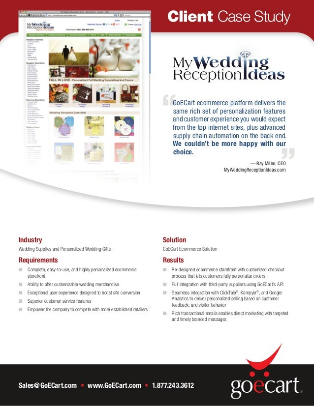 MyWeddingReceptionIdeas Increases Sales and Conversions with GoECart On-Demand Ecommerce Solution